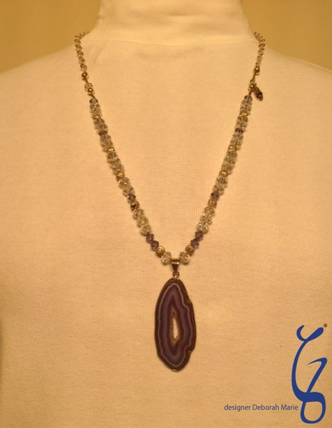Blue Crystal with Silver Chain - SOLD