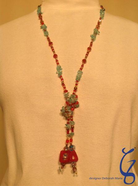 Blue and Pink Swarovski Tie-SOLD
