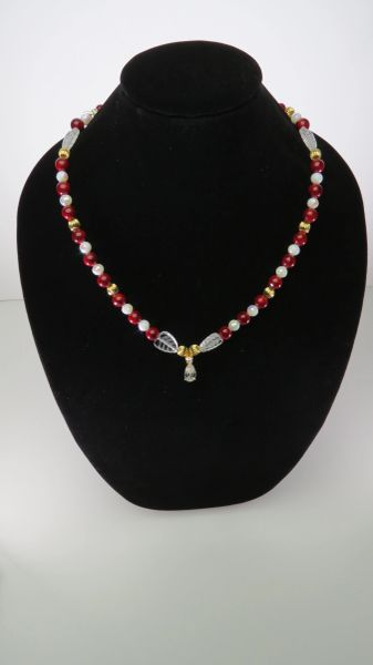 Red, White Crystal with Leaf