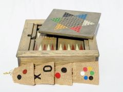 Happy Game Box, 4 wooden Game Boards, Table Top Backgammon, Checkers / Chess, Chinese Checkers, TicTacToe, + Game Storage