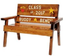 Preschool Graduation Country Garden Wood Friendship Bench Engraved and Painted