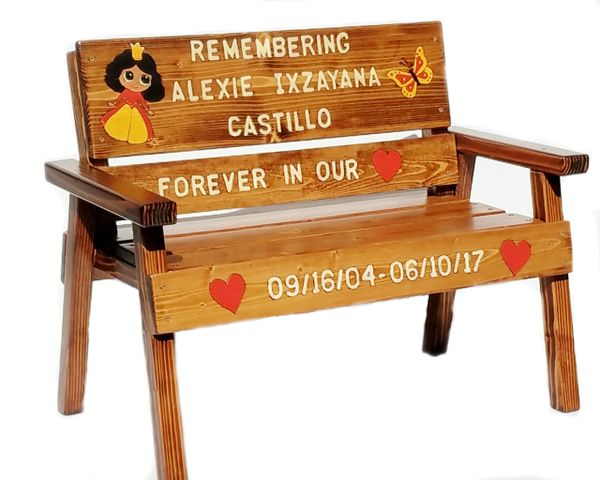 Memorial Bench, Childrens Custom Wood Furniture, Personalized, Kids Baby Toddler + Patio Garden Painted & Engraved Folk Art