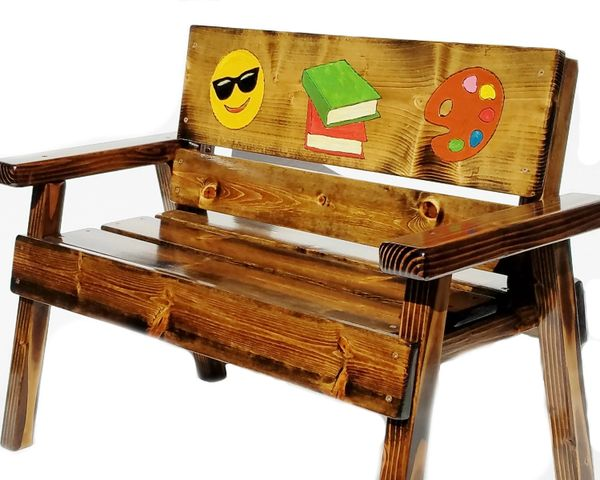 Painted & Engraved Kids Emoji Message Wood Bench, Childrens Indoor / Outdoor Country Garden Toddler Furniture