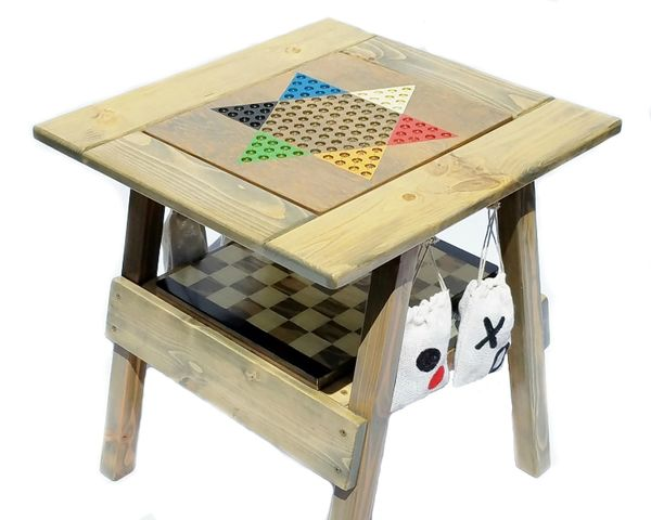 """4 Wood Games, Chinese Checkers, Backgammon Game, Checkers / Chess Table, TicTacToe, Painted Furniture, 22"""""""