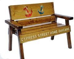 Preschool Country Garden Bench Anchor Design, Kids Indoor / Outdoor Wood Patio Furniture, Folk Art Toddler Decor, Engraved