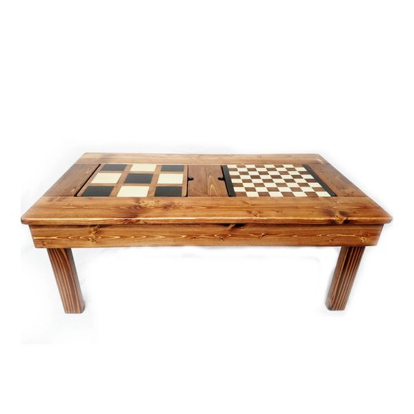 Farmhouse Coffee Table - Reversible Game Boards - 4 Games