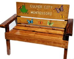 Preschool Graduation Wood Personalized Bench Engraved and Painted Montessori Furniture
