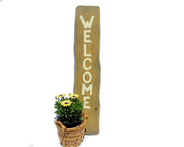 Yard Art Vertical Timber Raw Edge Welcome Sign, Front Porch or Business Entry, Engraved & Painted, Rare Wood