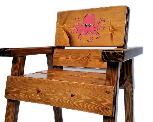 Kids Octopus Chair, Toddler + Boy or Girl Wood Gift