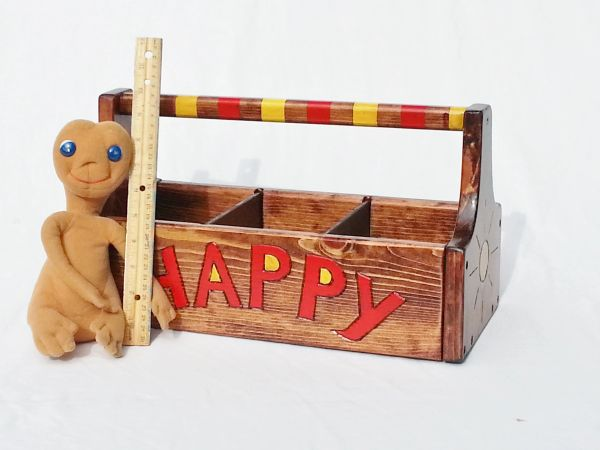 Whimsical Crayon / Craft Caddy or Toy Box, Wooden Storage / Garden Tote, Kids / Adult Engraved & Painted, Reclaimed Wood