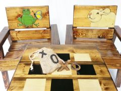Farmhouse Kids Table and Chairs, Toddler + Boy / Girl, Outdoor Wood Furniture