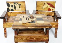 Kids Country Table and Chairs, Outdoor Wood Furniture Boy or Girl