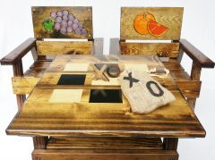 Farmhouse Outdoor Table and Chairs, Kids Furniture Boy / Girl, Grapes and Oranges