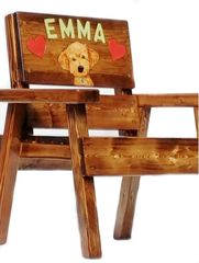 Goldendoodle Art Whimsical Painted Kids Personalized Wood Chair First Birthday Gift Boy / Girl