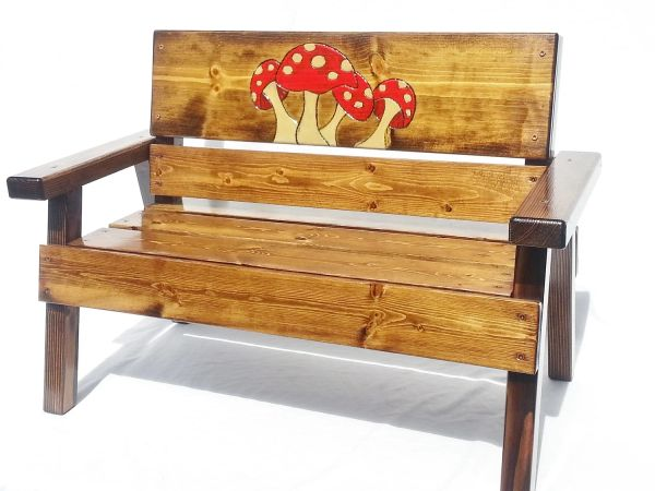 Happy Kids Bench Heirloom Gift Mushroom Design