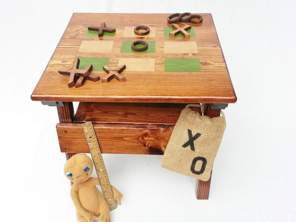 Kids Wood Game Table, Childrens Tic Tac Toe Game