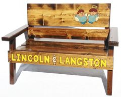 Childrens Memorial Bench Wood Outdoor Patio Furniture, Painted & Engraved