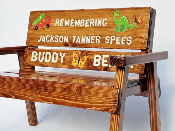 Admirable Memorial Bench Childrens Wood Bench Outdoor Furniture Painted Engraved Alphanode Cool Chair Designs And Ideas Alphanodeonline