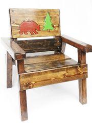 Outdoor Furniture Kids Wood Chair Bear Design
