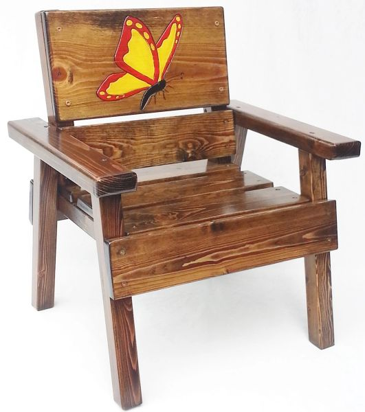 Kids Wood Chair Butterfly Design Outdoor Furniture