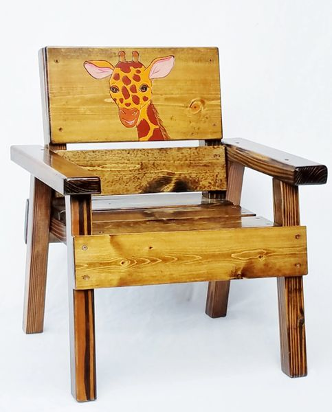 Kids Safari Chair, Jungle Animal Gift, Giraffe Painted and Engraved Wood Outdoor Chair