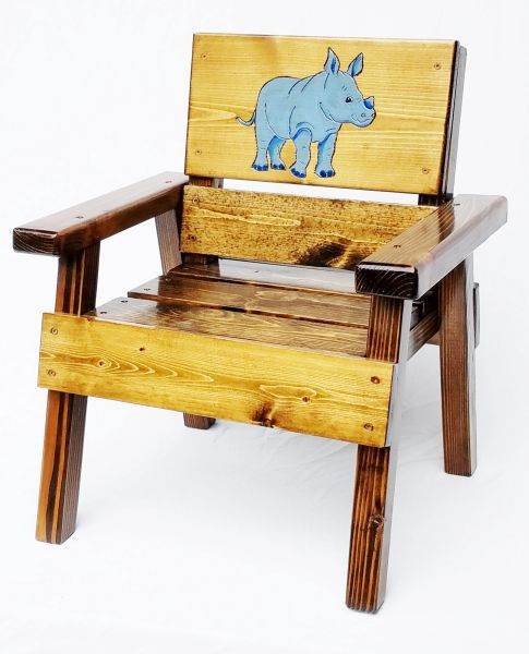 Jungle Animal Wood Chair Kids Outdoor Furniture Rhinoceros Design