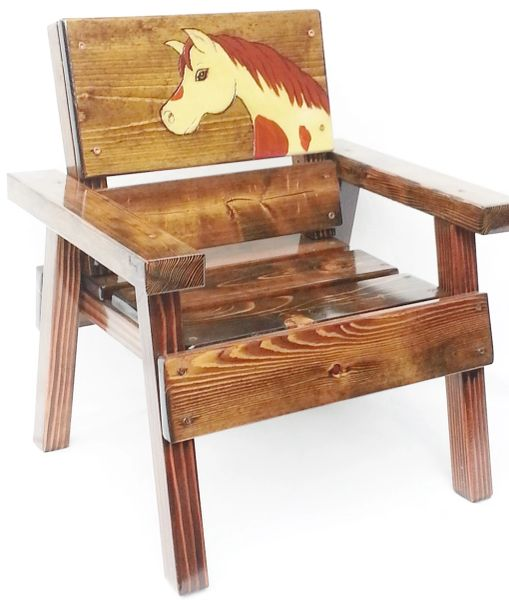 Happy Chair Kids Outdoor Furniture Painted Horse Design