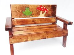 Kids Country Bench Indoor / Outdoor Frog and Mushroom Design