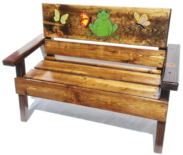 Farmhouse Kids Wood Bench Frog and Butterfly Design