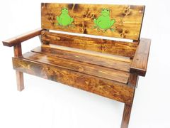 Outdoor Wood Bench Kids Furniture, Frog Design
