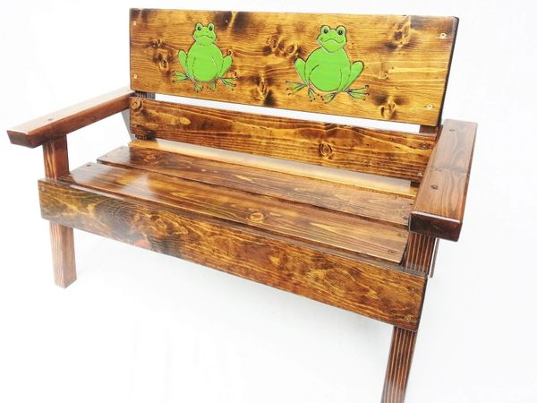 Outdoor Wood Bench Kids Furniture, Frog Design