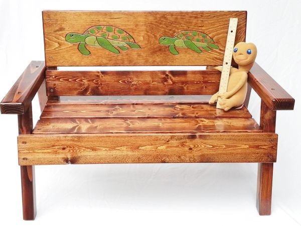 Kids Nautical Bench Sea Turtle Design Outdoor Furniture