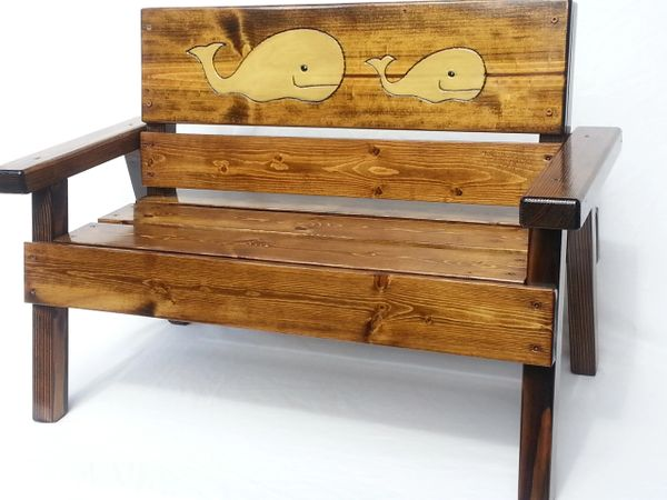 Happy Kids Nautical Wood Bench Whale Design