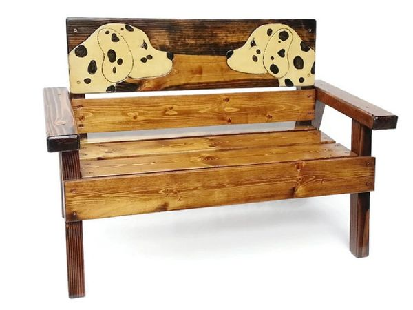 Happy Kids Wood Bench Dog - Dalmatian Design