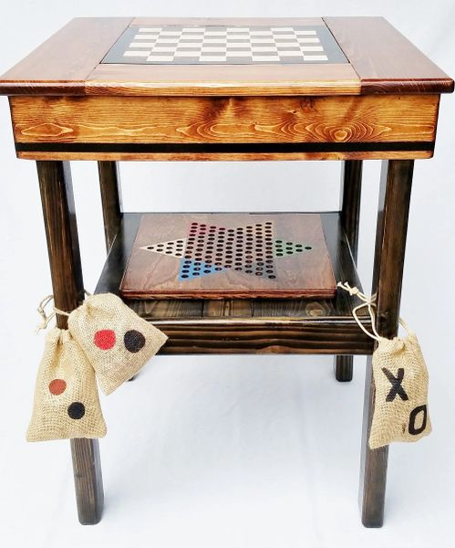 Farmhouse Game Table Backgammon, Chinese Checkers, Checkers / Chess, TicTacToe
