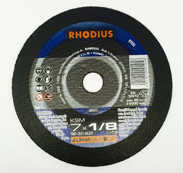 RHODIUS TOP CUT OFF WHEEL FOR STEEL 7x1/8x7/8 KSM TYPE 1