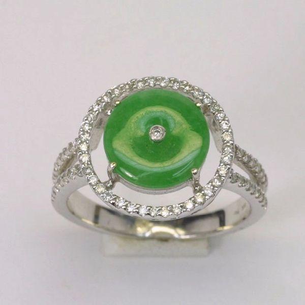 18k W/G Diamond Jade