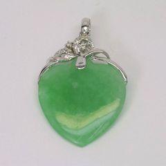 18K W/G Diamond Jade Heart Pendant