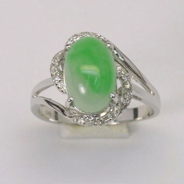 18K W/G Diamond Jade Ring