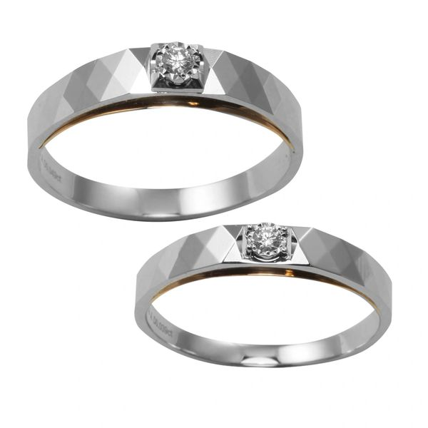 18K Two Tone Diamond Wedding Bands