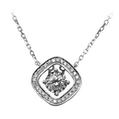 18K W/G Diamond Pendant with Chain