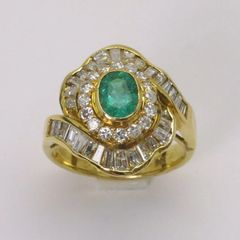 14K Y/G Diamond Emerald Ring