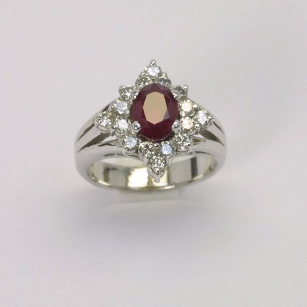 14K W/G Diamond Ruby Ring