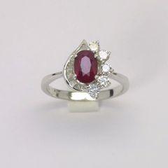 18K W/G Diamond Ruby Ring