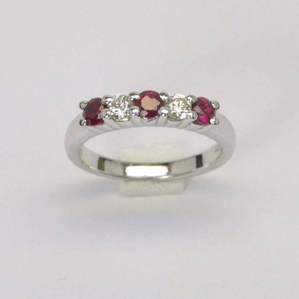 18K W/G Diamond Ruby Ring