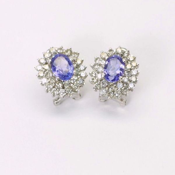 18K W/G Diamond Sapphire Earrings