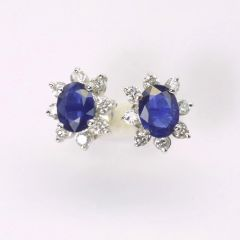 14K W/G Diamond Sapphire Earrings