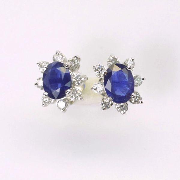14K W/G Diamond Sapphire Earrings