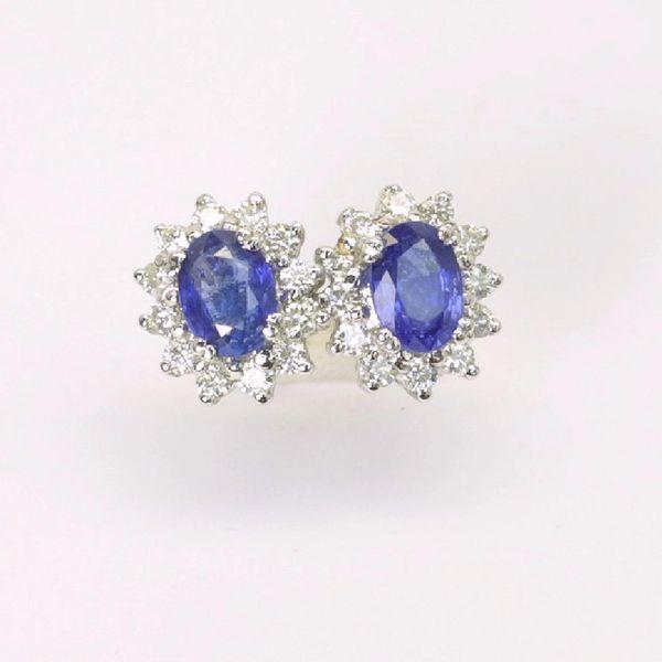 18K W/G Diamond Sapphire Earrings