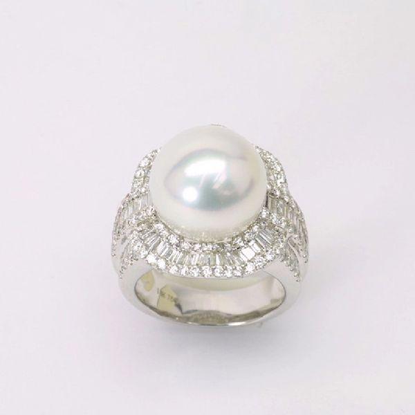 18K W/G Diamond South Sea Pearl Ring